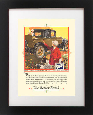 Antique Buick Auto Car Ad ENGLISH SETTER Dog 1920's Advertising RP Art Print