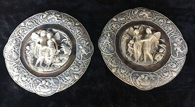 """Vintage Pair of Large Coralay Classics Incolay Stone """"Puck"""" Wall Plaques"""