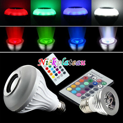 3/12W E27 LED RGB Wireless Bluetooth Speaker Light Bulb Music Lamp +Remote NEW