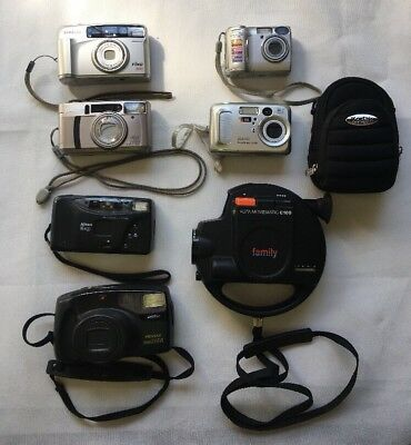 Vintage Cameras Lot of 7 Film Digital 35mm Super 8