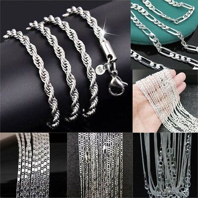 wholesale 925 Sterling Silver Rope Chain Twist Necklace Wedding Jewelry Unisex