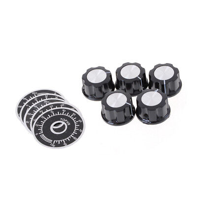 5set Black Rotary Potentiometers Knobs Caps with 5Pcs Counting Dial0-100 ScaleMH