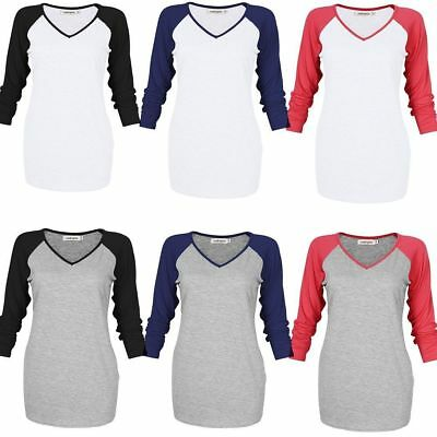 Leadingstar Womens T-Shirt  V-neck 3/4 Sleeve Raglan Baseball Sports Tee T Shirt
