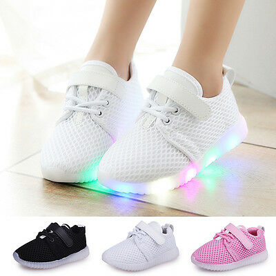 LED Baby Boys Girls Shoes Kids Light Up Luminous Trainers Sport Sneakers US 5-7