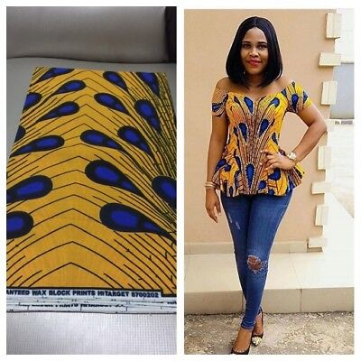 Handmade African Print Yellow and Blue Stoned Ankara Peplum Top. Size 8/10