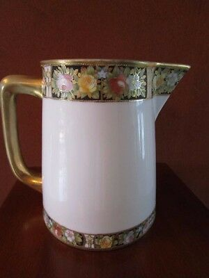 Antique Rc Nippon Hand Painted Moriage Milk/water Pitcher Jug Roses