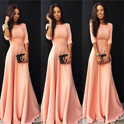 Women Formal Long Ball Gown Party Prom Cocktail Wedding Evening Maxi Dress S XXL