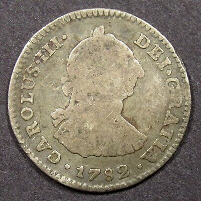 1782 Carlous III 1 Reale Silver Coin