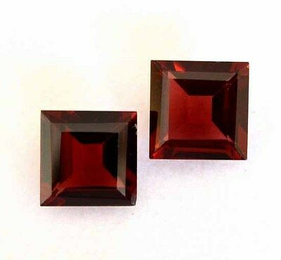 Aaa 5.23 Ct. Matched Pair 2Pc Natural Garnet Facet Square 8X8 Mm Loose Gemstone