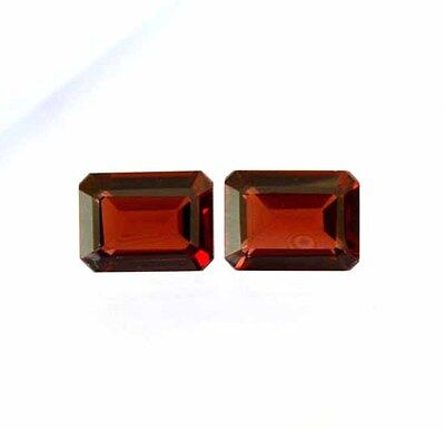Aaa 3.55 Ct. Matched Pair 2Pc Natural Garnet Facet Octagon 6X8 Mm Loose Gemstone