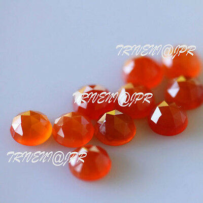 AAA Quality 10 Pc Natural Red Carnelian 5x5 MM Round Rose Cut Loose Gemstone