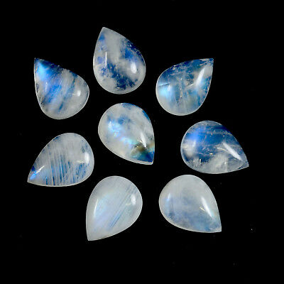 AAA Quality 10 Pc Natural Rainbow Moonstone 9x13 mm Pear Cabochon Loose Gemstone