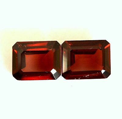 Aaa 6.14 Ct. Matched Pair 2Pc Natural Garnet Facet Octagon 8X10Mm Loose Gemstone
