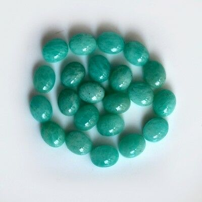 AAA Quality 10 Pc Natural Amazonite 8x10 mm Oval Plain Cabochon Loose Gemstone