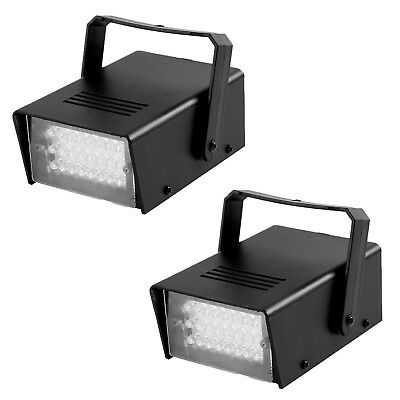 2 Pcs Halloween Strobe light 24 White LED Stage Lighting Ideal for Club DJ Party