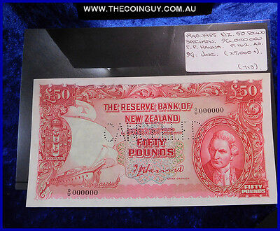 1940-1955  New Zealand  Fifty Pound Specimen Note  Rare