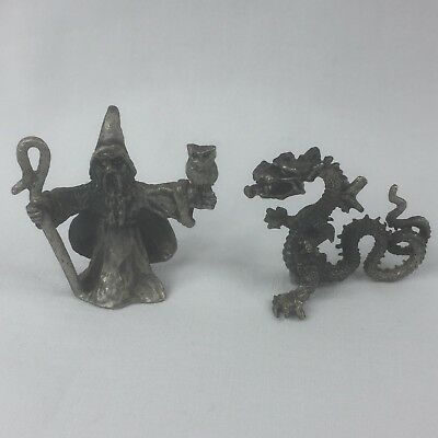 Vintage 1990's Wizard With Owl 4cm(H) and Dragon 3.2cm(H) Pewter Figurines EUC