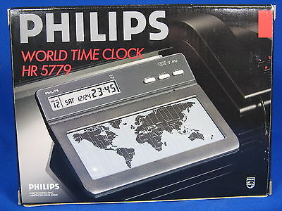 Nos Vintage Design  Philips Hr 5779 Desktop World Timer Alarm Clock  Weltzeituhr