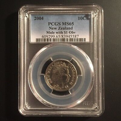 2004 New Zealand 10 Cent Mule With $1 Obverse Pcgs Ms65