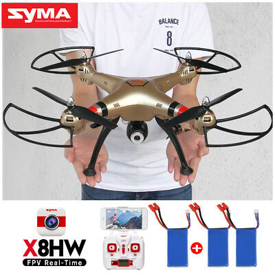3 Batteries Syma X8HG RC Drone Quadcopter With 8MP Camera Set High Mode Gift Toy