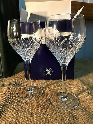 Pair of Quality Royal Doulton Cut Crystal Stem Wine Glasses Made in France