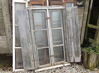 ANTIQUE FRENCH WINDOW COMPLETE SHUTTERS AND FRAME. MAKE WONDERFUL FEATURE.19th C