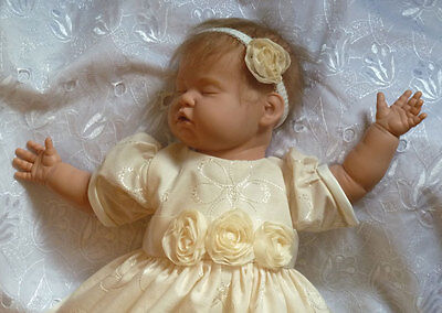 Vintage style gown 0-3m baby or reborn doll with lining & net layer for fullness