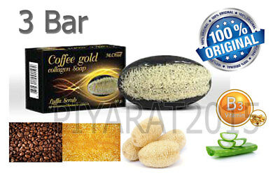 3 x COFFEE & GOLD COLLAGEN SOAP REDUCE CELLULITE AND SMOOTHING WITH LUFFA SCRUB