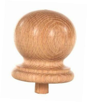 """staircase round finial newel post cap, red oak wood (3.25"""" d x 3.5"""" h) fn-0103"""