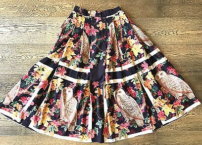 Vintage Brown Red Orange Green Yellow Owls Autumn Leaves Print Full Skirt S