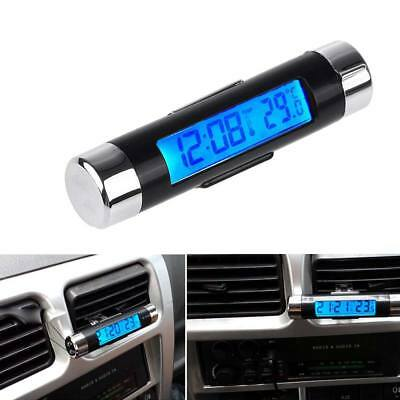 2in1 Car Auto LCD Clip-on Digital Backlight Automotive Thermometer Calend Clock