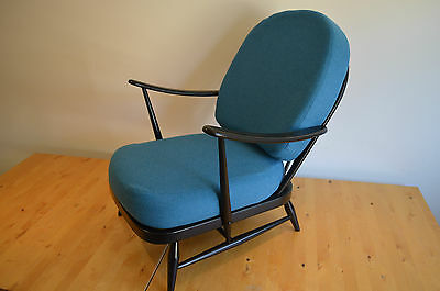 Vintage Ercol: Black 203 Windsor Chair, New Cushions & Blue Wool Covers