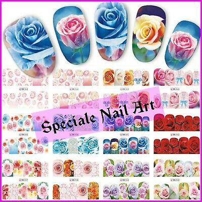 Water decals transfer fiori rose stickers adesivi decorazione unghie nail art