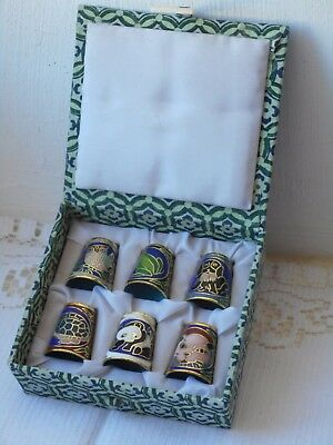 stunning boxed 6 piece set of cloisonne thimbles with animal design