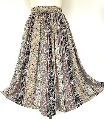 Vintage Country Road Black Green Grey Blue Beige Side Pockets Full Skirt XS