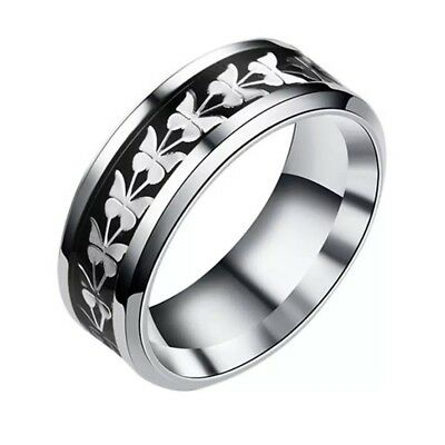 Butterfly Stainless Steel Ring With Black And Silver Carbon Fiber