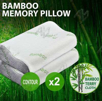 2x Luxury Soft and Hard Contour Bamboo Pillow Memory Foam Fabric Fibre Cover