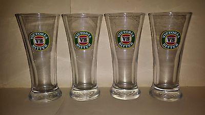 4 x COLLECTABLE VICTORIA BITTER VB 285ML BEER GLASSES