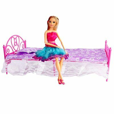 Beautiful Plastic Bed Bedroom Furniture For Barbie Dolls Dollhouse WS X8I7