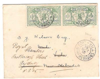 cover112 New Hebrides 1912 pair of 1/2ds on cover redirected to Sydney