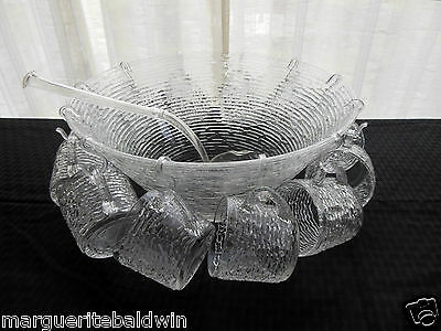 Anchor Hocking Glass Clear Soreno Punch Bowl, Ladel, 12 Cups, 12 Hooks 26 pc Set