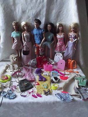 6 Barbie Dolls & With Extra Clothing Shoes & Accessories + DOG