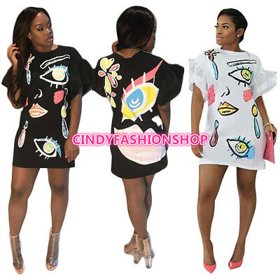 European Printed Fashion Women Lantern Sleeve Casual StreetWear Loose Mini Dress