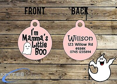 """Halloween Dog ID Collar Tag """"I'm Mamma's Little Boo"""" - Double Sided Pet Charm"""