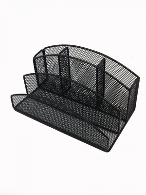Desk Caddy Pencil Letter Organizer Mesh Office Home Supplies Holder Black NEW