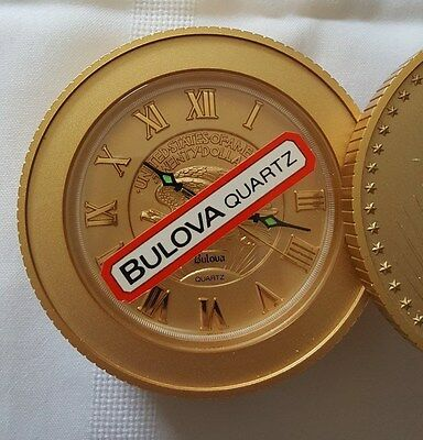 Bulova Twenty Dollars Walking Liberty Stacked Gold Coin Desk Alarm Clock
