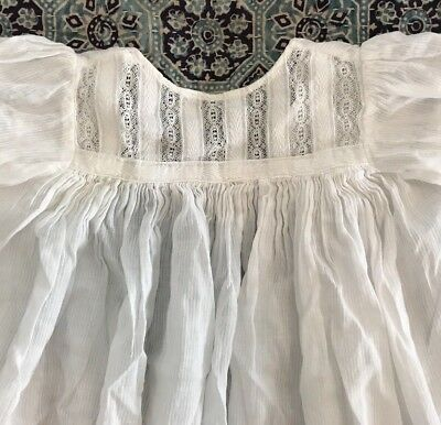 """Antique Christening Gown/doll Clothes White 35"""" Long"""