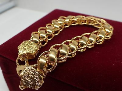Men Jewellery 18K Yellow gold Solid Wide 12mm Crub Chain Women bracelet 8 inch