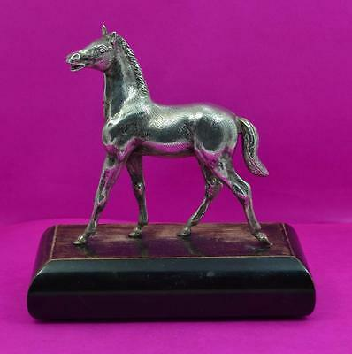 sterling silver Horse figurine on plinth E Barnard & Sons Ltd London 1970