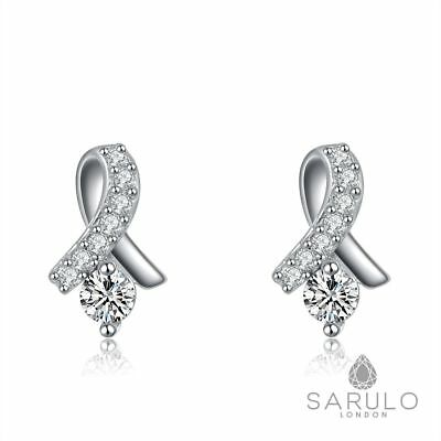 Ribbon Stud Earrings Sarulo 925 Solid Sterling Silver Jewelry Ladies Fashion Hot